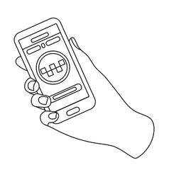 Hand holding a phone to call for order taksi vector