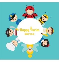 kids wearing different costumes happy purim in vector image vector image
