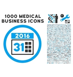 2016 Month Icon with 1000 Medical Business Symbols vector image