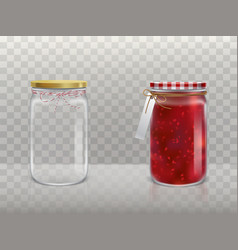 A set of of glass round jars vector