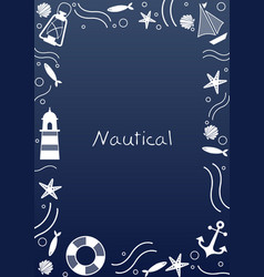 Abstract doodle nautical frame for summer vector