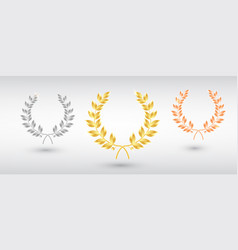 award laurel set - first second and third place vector image