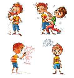 Bad behavior funny cartoon character vector