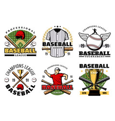 baseball sport game club icons with player items vector image