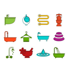 bathroom icon set color outline style vector image