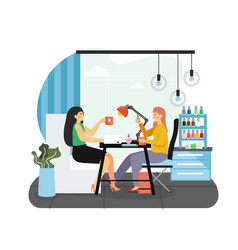 beauty salon girl doing manicure to her best vector image
