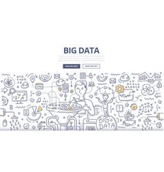 Big data doodle concept vector