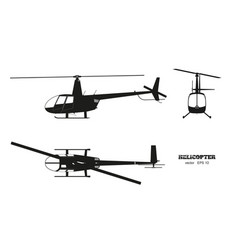 Black silhouette of helicopter on white background vector