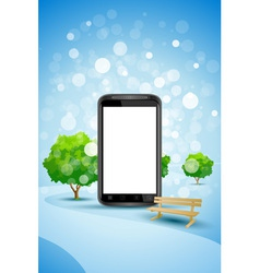 Blue Background with Empty Mobile Phone vector image