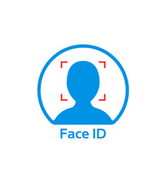 blue face id simple icon vector image