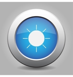 Blue metal button with weather - sunny vector