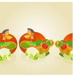 border seamless background basket with vegetables vector image