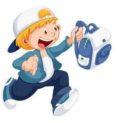 boy running with a schoolbag vector image