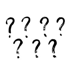 brush stroke hand drawn question marks grunge vector image