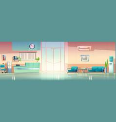 Cartoon hospital hall interior vector