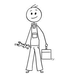 cartoon of male worker with wrench and tool box vector image