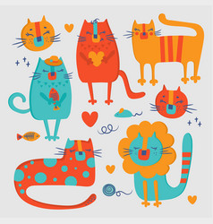 cat zoo hand drawn flat design cartoon vector image