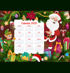 Christmas calendar with santa elf and xmas gifts vector