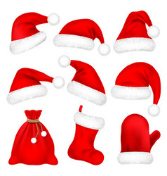 Christmas santa claus hats with fur set mitten vector