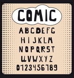 Comic cartoon alphabet set letters numbers vector