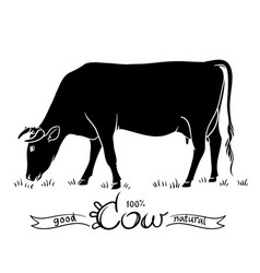 cow isolated black and white silhouettes of a cow vector image