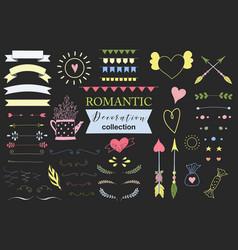 Doodle set of design elements about love vector