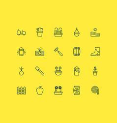 Farm icons set with pitchfork farm field cactus vector