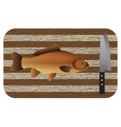 Fish and knife on a chopping board vector