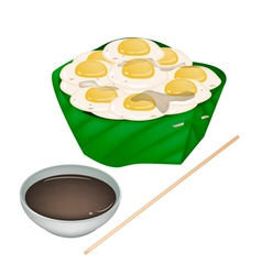Fried Quail Eggs in Counts Banana Leaf vector