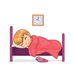 girl sleeping calmly in room vector image