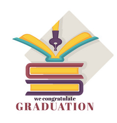 graduation isolated greeting icon books pile and vector image