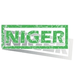 Green outlined Niger stamp vector