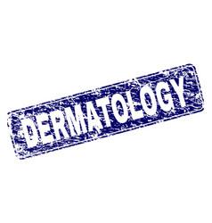 Grunge dermatology framed rounded rectangle stamp vector