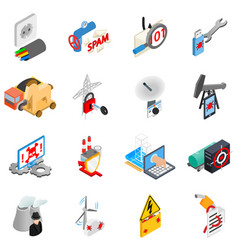 Hacking electricity icons set isometric style vector