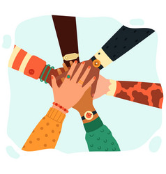 hands putting together people group putting hands vector image