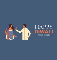 Happy diwali indian couple holding oil lamp candle vector