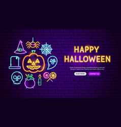 happy halloween neon banner design vector image