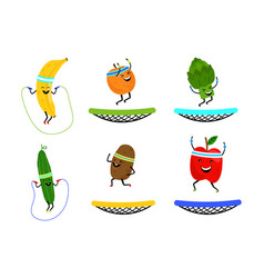 happy jumping fruits and vegetables vector image