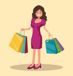Happy shopper the girl holds packages big sale vector