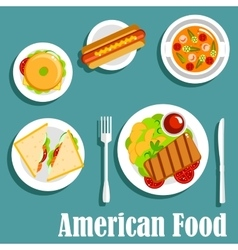 Homemade dinner of american cuisine flat icon vector image