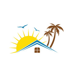 Hotel house tropic sunset logo vector