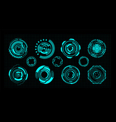 Hud circles futuristic digital ui round elements vector