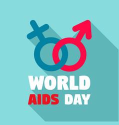 human world aids day logo set flat style vector image