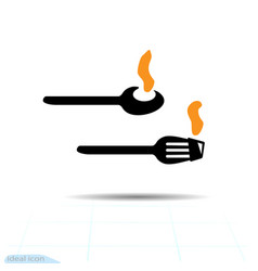 isolated of flat a spoon and fork a vector image