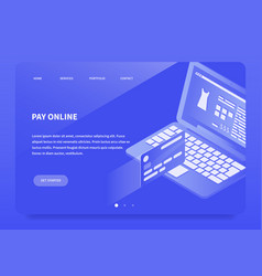 Isometric online payment landing page vector