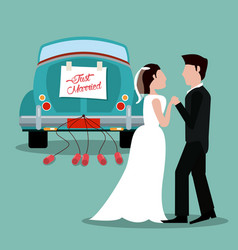 Just married couple with car vintage vector