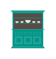 Kitchen hutch flat style in in colo vector