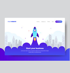 Landing page template of startup business vector