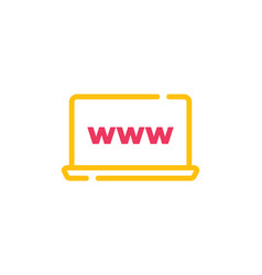 laptop flat web icon sign or button isolated vector image