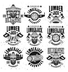 Lumberjack vintage black on white emblems vector